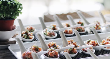 Stand up finger food spoon fed catering for Canape examples